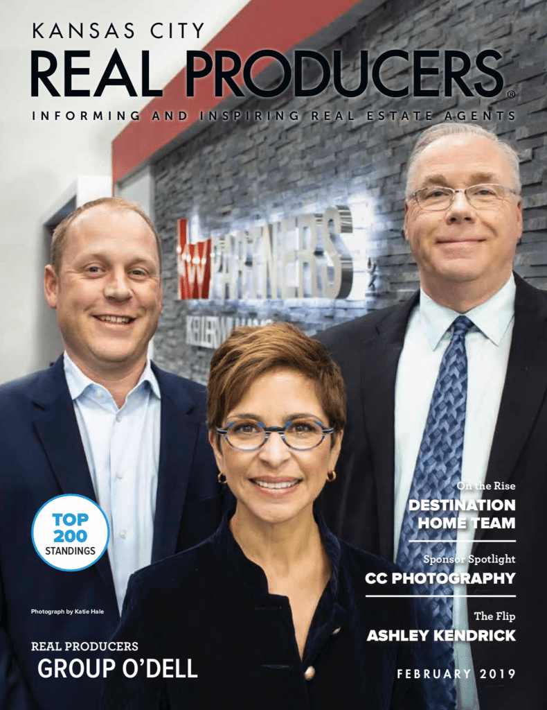 Dan, Maria, and Mike O'Dell on the cover of Kansas City Real Producers Magazine